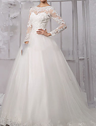 cheap -Ball Gown Wedding Dresses Jewel Neck Sweep / Brush Train Lace Tulle Long Sleeve Formal with Appliques 2021