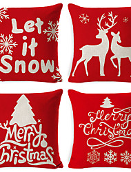 cheap -4pcs Christmas Cushion Cover Decorative Linen Throw Pillow Cover 18 x 18 inches/ 45 x 45 cm