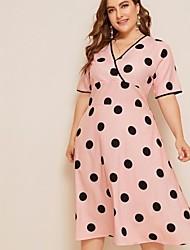 cheap -Women's A-Line Dress Maxi long Dress - Short Sleeve Floral Summer Boho 2020 Blushing Pink L XL XXL XXXL XXXXL