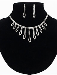 cheap -Women's White AAA Cubic Zirconia Stud Earrings Choker Necklace Bridal Jewelry Sets Tennis Chain Mini Stylish Luxury Earrings Jewelry Silver For Wedding Party Engagement 1 set