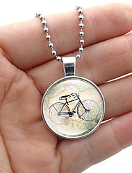 cheap -Women's Pendant Necklace Handmade Maps Vintage Steampunk Glass Alloy Black Silver 50 cm Necklace Jewelry For Gift Festival