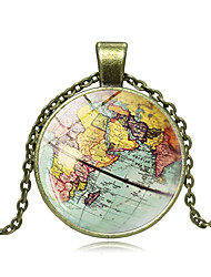 cheap -Women's Pendant Necklace Handmade Maps Vintage Steampunk Glass Alloy Black Bronze Silver 50 cm Necklace Jewelry For Gift Festival