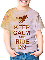 cheap -Kids Girls' Basic Horse Animal Print Short Sleeve Tee Brown