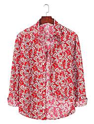 billige -Herre Grafisk Trykt mønster Skjorte Basale Hawaiiansk Daglig Weekend Blå / Rød