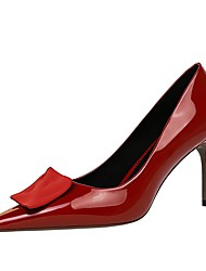 cheap -Women's Heels Summer Pumps Pointed Toe Daily Solid Colored PU Nude / Black / Red