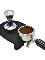 cheap -Coffee Manual Non-slip Tamper Holder and Mat 1 Pc Black/Dark Brown