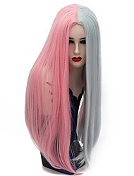 cheap -Synthetic Wig Straight Middle Part Wig Long Pink / Grey Black / Red Black / White Synthetic Hair 28 inch Women's Party Middle Part Black Mixed Color hairjoy
