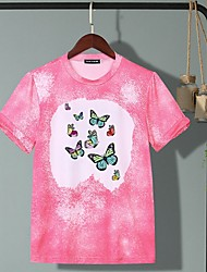 cheap -Women's T-shirt Animal Butterfly Tops Round Neck Daily Blushing Pink S M L XL 2XL