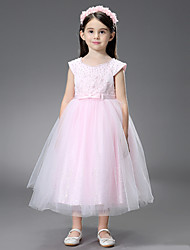 cheap -Princess / Ball Gown Ankle Length / Royal Length Train Wedding / Event / Party Flower Girl Dresses - Satin / Tulle Sleeveless Square Neck with Beading / Ruffles / Appliques