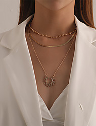 cheap -Women's Pendant Necklace Chain Necklace Necklace Stacking Stackable Flower Classic Rustic Vintage Trendy Chrome Gold Silver 60 cm Necklace Jewelry 1pc For Anniversary Party Evening Prom Street