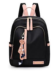 cheap -Women's Nylon School Bag Commuter Backpack Large Capacity Zipper Daily Backpack Black Blushing Pink