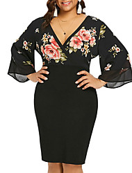 cheap -Women's Chiffon Dress Short Mini Dress - 3/4 Length Sleeve Floral Summer Work 2020 Black Red L XL XXL XXXL XXXXL XXXXXL