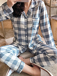 cheap -Women's Shirt Collar Suits Pajamas Plaid