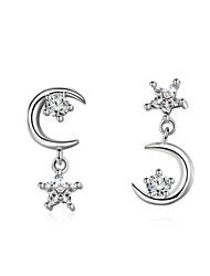 cheap -Women's White AAA Cubic Zirconia Stud Earrings Classic Moon Star Stylish Birthstones Platinum Plated Earrings Jewelry Silver For Wedding Party Gift Daily Work 1 Pair