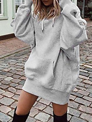 cheap -Women's Pullover Hoodie Sweatshirt Solid Colored Casual Hoodies Sweatshirts  Loose Black Wine Gray