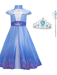 cheap -Movie / TV Theme Costumes Frozen Dress Cosplay Costume Girls' Movie Cosplay Mesh Vacation Dress Halloween Blue Dress Wand Halloween New Year Polyester / Cotton