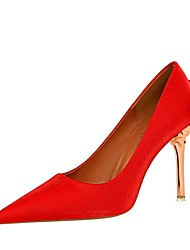 cheap -Women's Heels Pumps Pointed Toe Daily PU Solid Colored Summer Black Red Champagne / 3-4