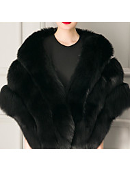 cheap -Women's Faux Fur Coat Regular Solid Colored Daily White Black