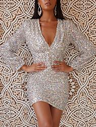 cheap -Women's Sheath Dress Short Mini Dress Silver Long Sleeve Solid Color Print Summer V Neck Hot Sexy 2021 S M L XL XXL
