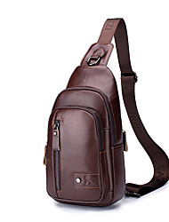 cheap -Men's Bags Nappa Leather Sling Shoulder Bag Chest Bag Zipper Holiday Outdoor Dark Brown