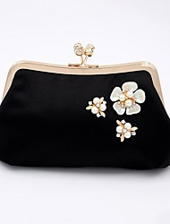 cheap -Women's Bags Polyester Evening Bag Pearls Beading Wedding Bags Party Event / Party White Black