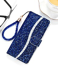 cheap -Phone Case For Apple Full Body Case Leather Wallet Card iPhone 12 Pro Max 11 SE 2020 X XR XS Max 8 7 6 Wallet Card Holder with Stand Glitter Shine PU Leather