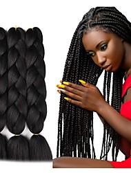 cheap -Crochet Hair Braids Jumbo Box Braids Black Dark Brown Synthetic Hair Long Braiding Hair 6pcs 3pcs 1pc
