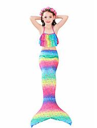 cheap -Kids Girls' Swimwear Bikini 3pcs Swimsuit The Little Mermaid Swimwear Geometric Sleeveless Rainbow Active Cute Bathing Suits 3-10 Years