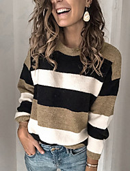 cheap -Women's Striped Pullover Long Sleeve Loose Sweater Cardigans Round Neck Fall Winter Blue Yellow Wine