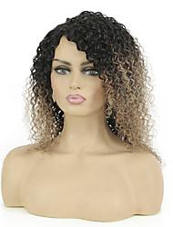 cheap -Remy Human Hair Wig Short Jerry Curl Pixie Cut Multi-color Color GradientHigh Quality Capless Brazilian Hair Women's Ombre Black / Medium Auburn 12 inch 14 inch