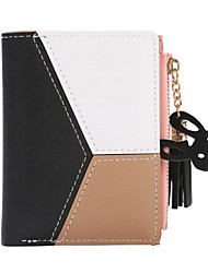 cheap -Women's Bags PU Leather Wallet Zipper Color Block Daily Black Blue Blushing Pink