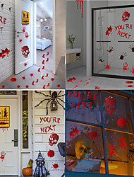 cheap -Halloween Party Toys Window Sticker Wall Stickers 9 pcs Horror Blood Handprint Mischief Paper Kid's Adults Trick or Treat Halloween Party Favors Supplies