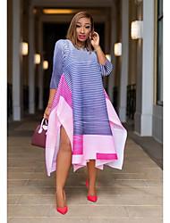 cheap -Women's A-Line Dress Midi Dress - Half Sleeve Color Block Tie Dye Print Summer Casual Daily Weekend 2020 Blue Orange S M L XL XXL