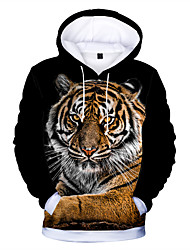 cheap -Kids Boys' Active Basic Tiger Cat Animal Print Long Sleeve Hoodie & Sweatshirt Yellow