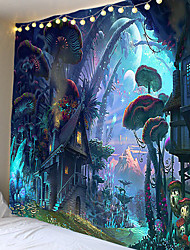 cheap -Magic series mushroom world pattern tapestries hang cloth decorative cloth cloth in the background. 100% polyester fiber material