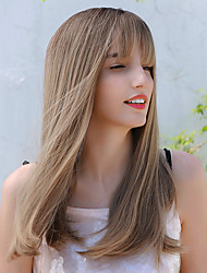 cheap -Synthetic Wig Straight Natural Straight Side Part Neat Bang With Bangs Wig Long Ombre Blonde Synthetic Hair 20 inch Women's Cosplay Party African American Wig Ombre BLONDE UNICORN