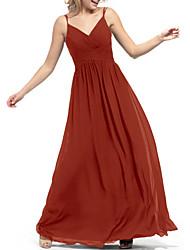 cheap -A-Line V Neck Floor Length Chiffon Bridesmaid Dress with Ruching
