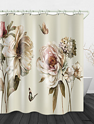 cheap -Blooming Flowers Digital Print Waterproof Fabric Shower Curtain For Bathroom Home Decor Covered Bathtub Curtains Liner Includes With Hooks