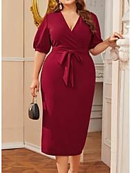 cheap -Women's Shift Dress Knee Length Dress - Half Sleeve Solid Color Summer Casual 2020 Wine XXXL XXXXL XXXXXL XXXXXXL