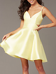 cheap -A-Line Beautiful Back Flirty Homecoming Cocktail Party Dress Spaghetti Strap Sleeveless Short / Mini Satin with Sleek 2020