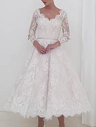 cheap -A-Line Wedding Dresses V Neck Ankle Length Lace Long Sleeve Vintage 1950s with Sashes / Ribbons 2020