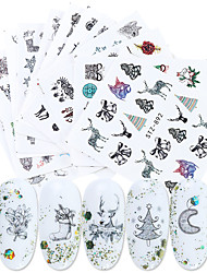 cheap -12 Sheets Nail Stickers Nail Art Stickers Autumn and Winter Black and White Elk Snowflake Man Christmas Tree Abstract Art for DIY Nail Art Decorations