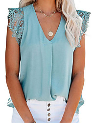 cheap -Women's T shirt Solid Colored V Neck Tops Basic Top White Blushing Pink Green
