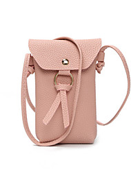 cheap -Women's Bags PU Leather Mobile Phone Bag Buttons Tassel Daily Black Blue Red Blushing Pink