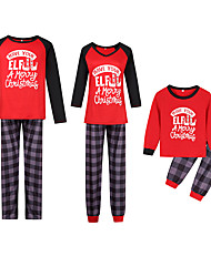 cheap -2 Piece Family Look Active Vintage Black & Red Geometric Color Block Letter Print Long Sleeve Regular Maxi Clothing Set Red
