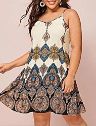 cheap -Women's Strap Dress Knee Length Dress - Sleeveless Floral Summer Work Sexy 2020 Beige XL XXL XXXL XXXXL