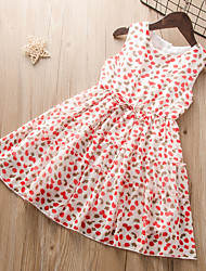 cheap -Kids Little Girls' Dress Solid Colored Fruit Print White Knee-length Sleeveless Active Cute Dresses Children's Day Loose