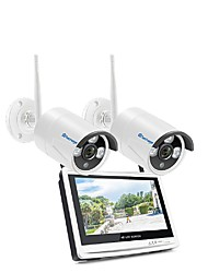 cheap -Techage Wireless 2CH CCTV System 1080P Home Security Camera System With 12 Inches Video Recorder 8x Playback, Mobile&PC Remote Night Vision Survilliance