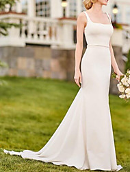 cheap -Mermaid / Trumpet Wedding Dresses Scoop Neck Court Train Stretch Satin Sleeveless Simple Vintage with Sashes / Ribbons 2021