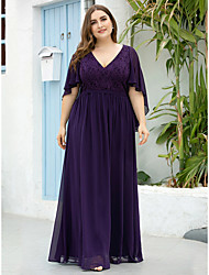 cheap -A-Line Mother of the Bride Dress Elegant Plus Size V Neck Floor Length Chiffon Tulle Half Sleeve with Sash / Ribbon 2020